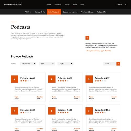 Website design for world's leading objectivist philosopher.
