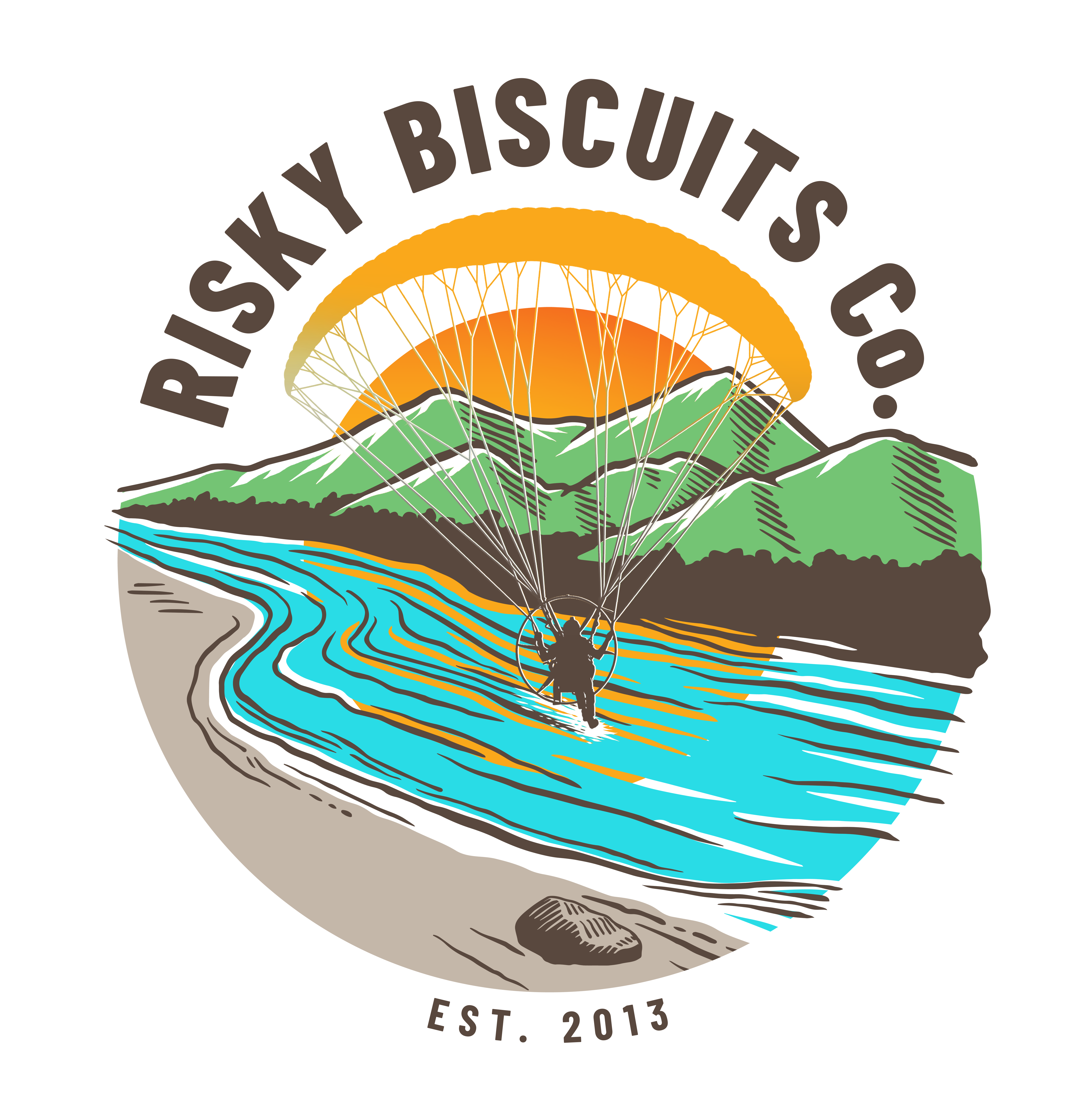 Risky Biscuits Co. River Logo