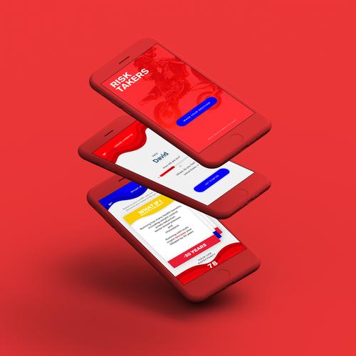 Bold UI concept for risk taking app.