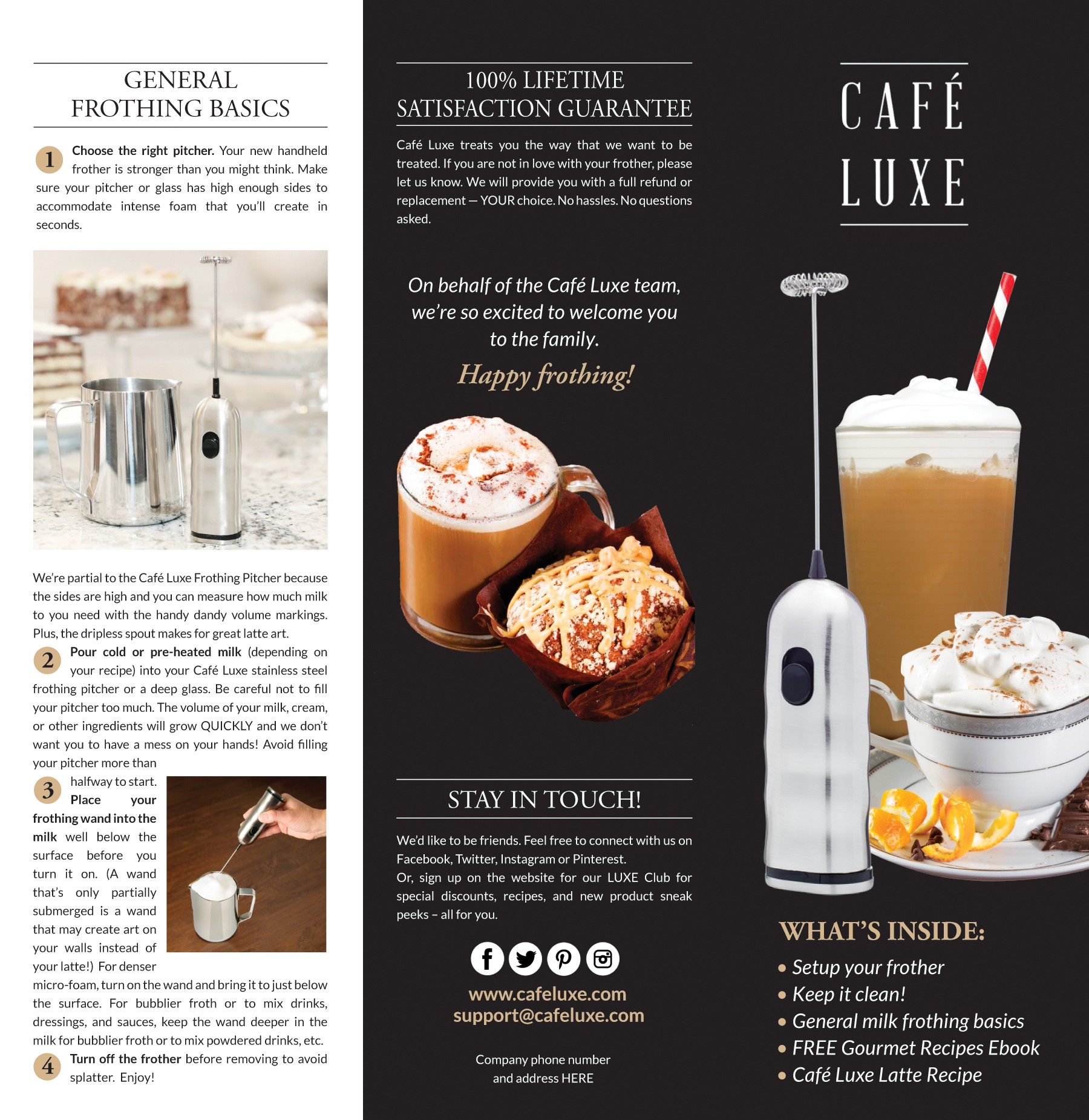 Design an effective product insert for Cafe Luxe