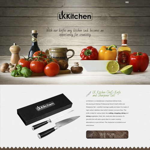Design a website for LK Kitchen with green and wooden elements