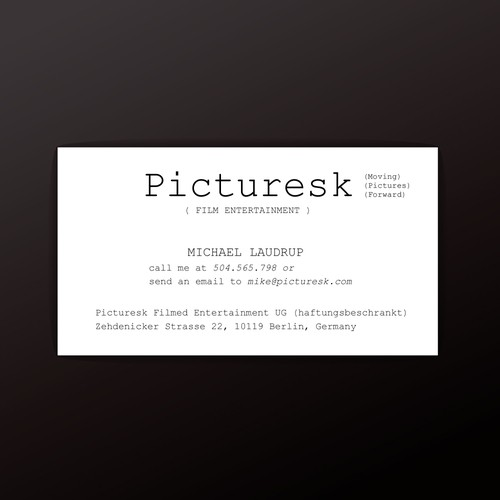 Simple business card for Picturesk
