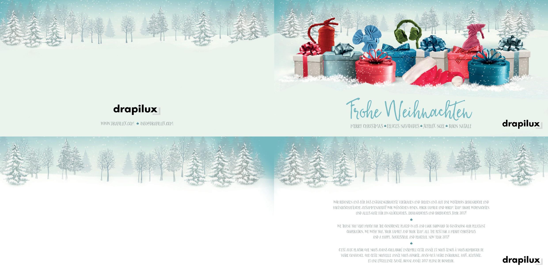 """Weihnachtskarte für """"drapilux – Intelligence woven in"""""""