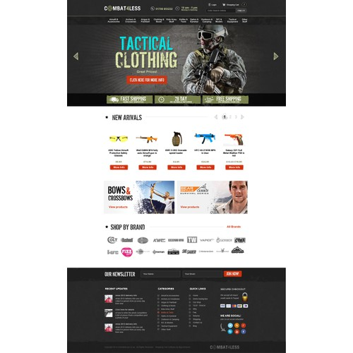 Ecommerce website for military/outdoor/airsoft/combat store