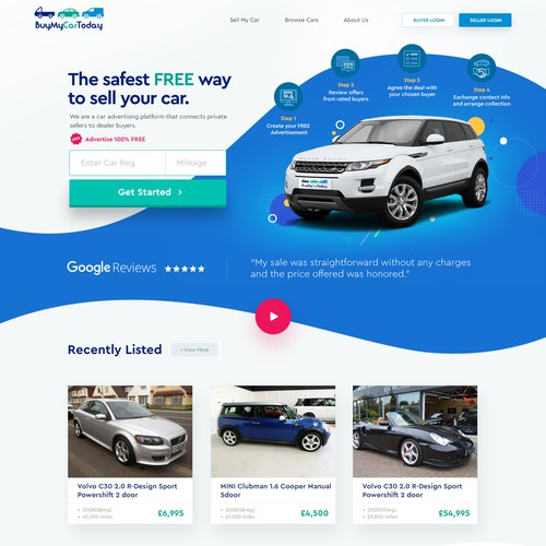 Clean modern BuyMyCar website