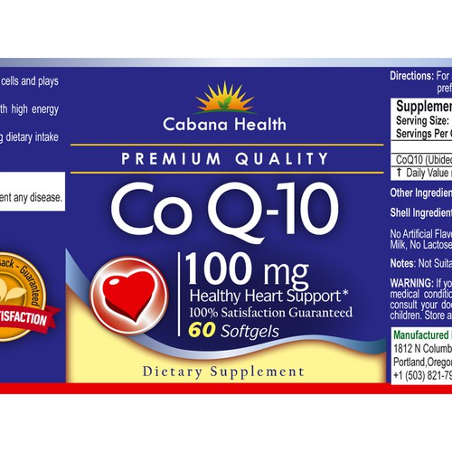 Q-10 Health support label