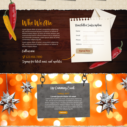 Landing page design contest for an authentic Mexican Restaurant.