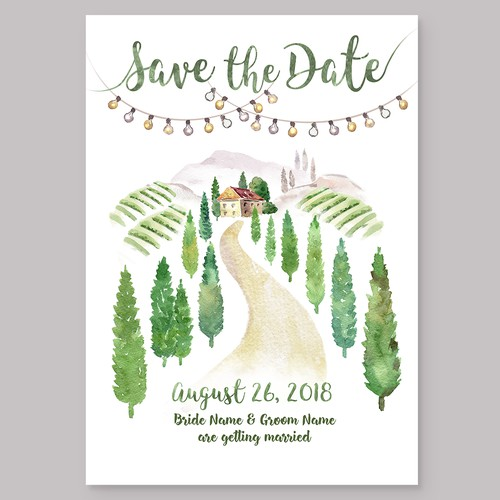 Save the date design. Hand-drawn watercolor wedding invitation.