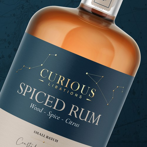 Label design for Curious Spiced Rum