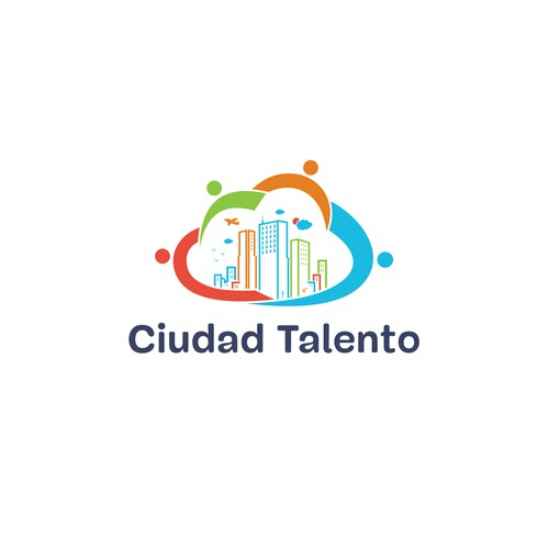 creative city illustration based on hightech and collaborative cloud for Ciudad talento logo