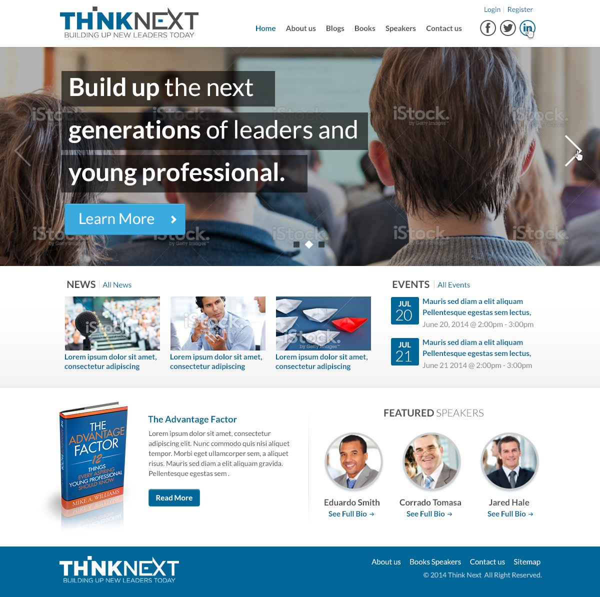 Thinknext Website for book and Speaker Promotion and Display