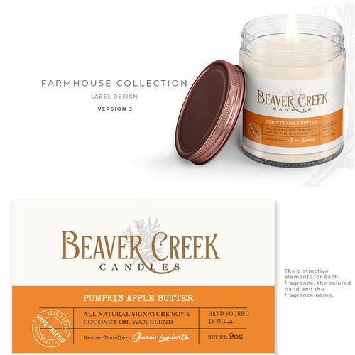 Beaver Creek Candles label design