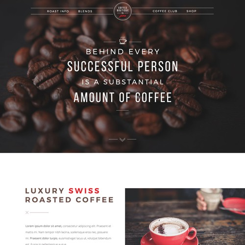 Boutique style design for coffee brand.
