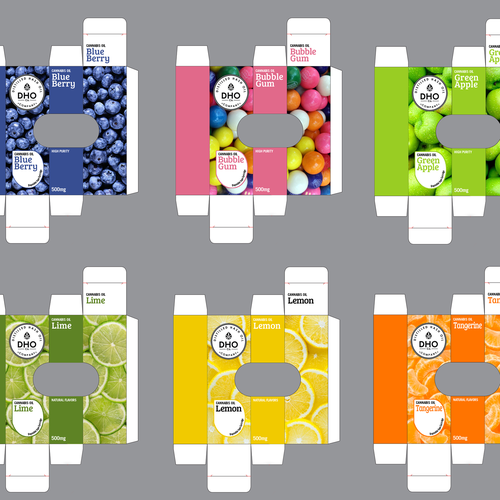 Package design for a flavoured cannabis vape cartridges