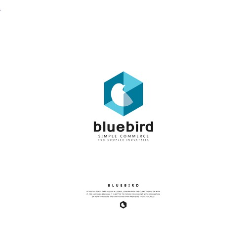 Logo concept for BlueBird Simple commerce for complex industries