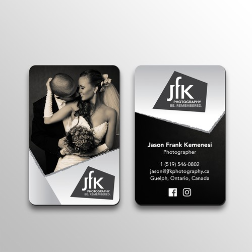 Sharp logo & business card design for high end wedding / studio / event photographer