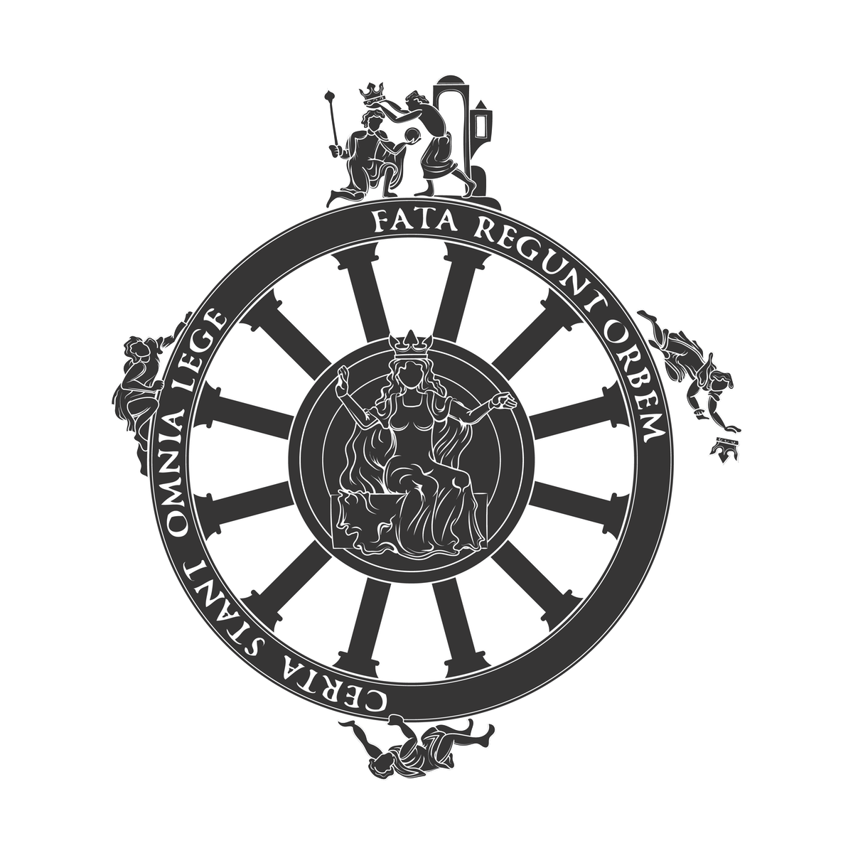 Illustration of the Goddess Fortuna and the Wheel of Fortune