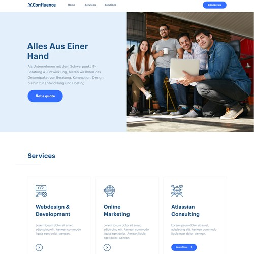 A Onepage Concept for a consulting&development startup!