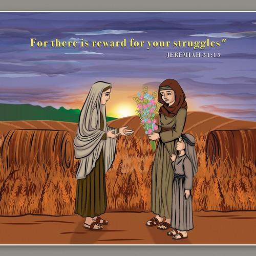 Bible Illustration of Sarah and Leah