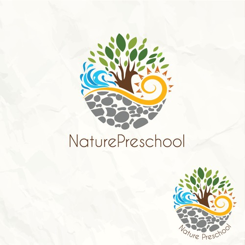 4 elements nature logo for a preschool