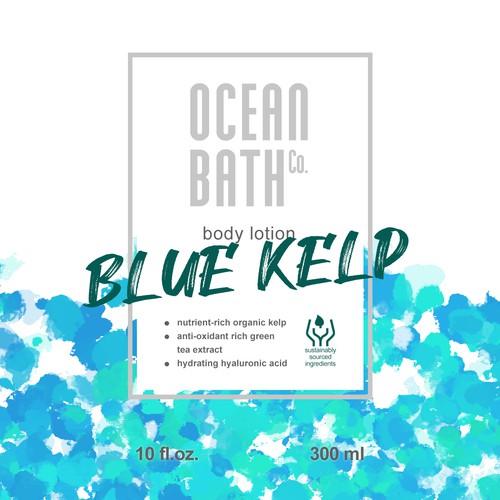 Ocean-themed body lotion label