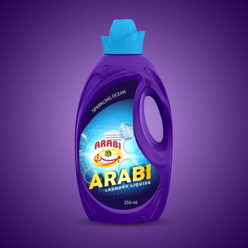 Liquid laundry bottle label design