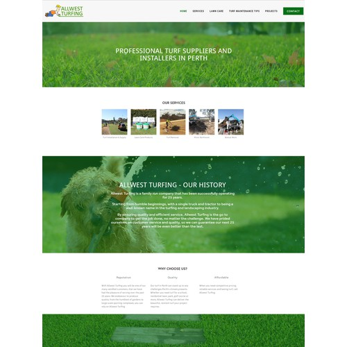 Squarespace website for Turfing Company