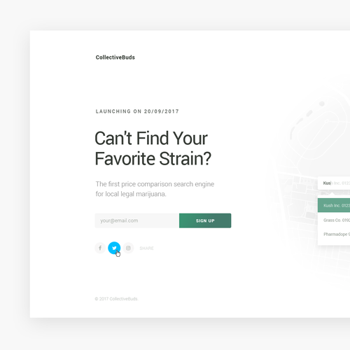 Email capture landing page for CollectiveBuds