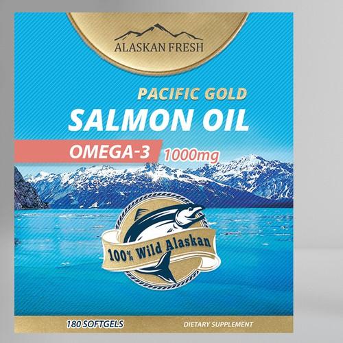 Salmon Oil Supplement Label Artwork Design
