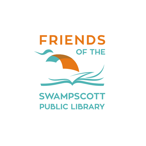 a modern bookish logo for Friends of the Swampscott Public Library