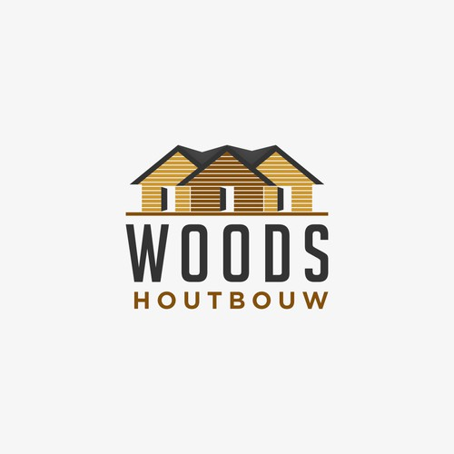 Logo and Business card for WOODS houtbouw. The company that builds wooden houses