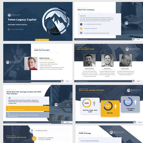 Presentation template for a hedge-fund company
