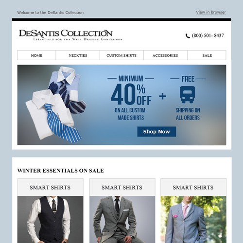 Email Template to Sell High End Menswear