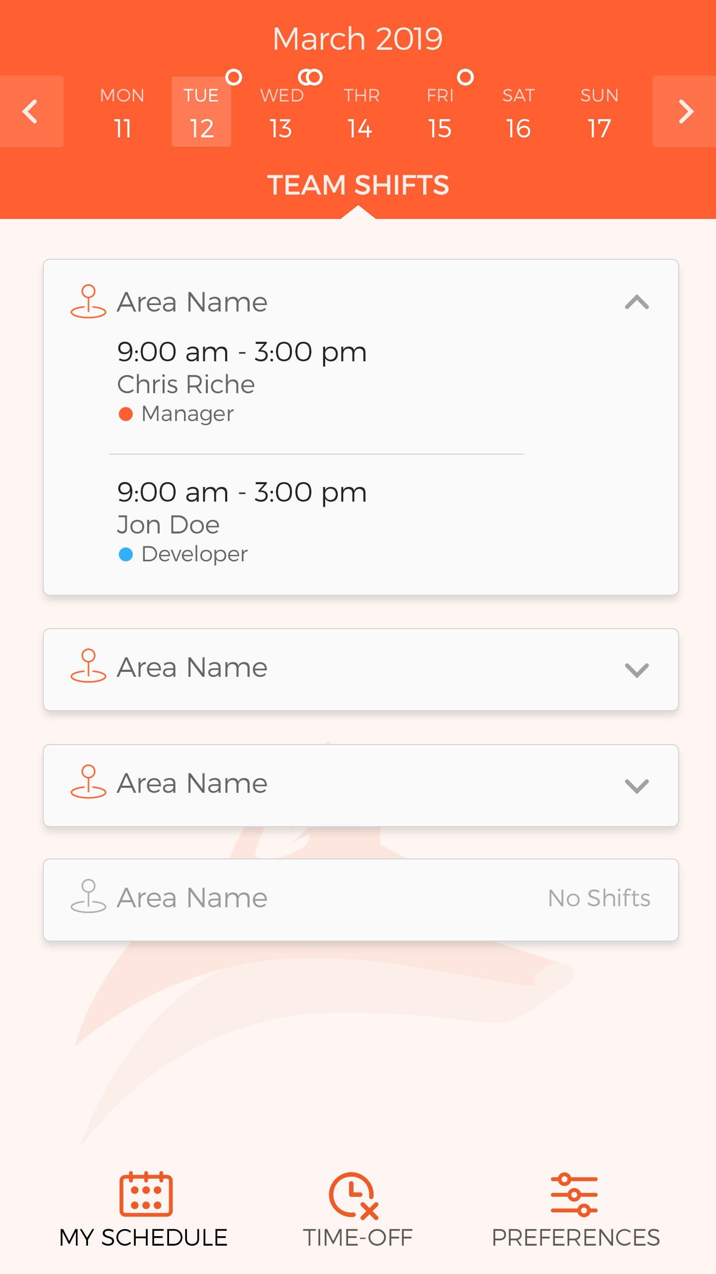 Mobile app team view
