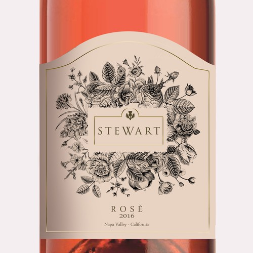 Create a floral wine label