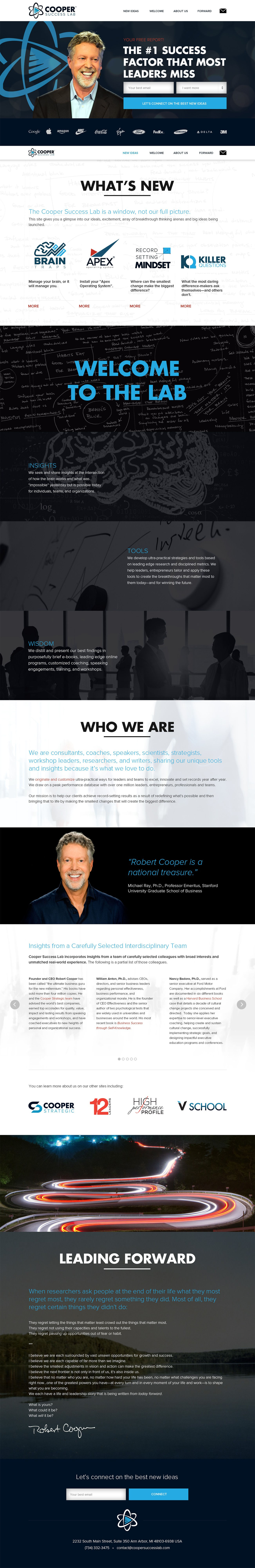 Cooper Success Lab website design | Long-form, one page site.