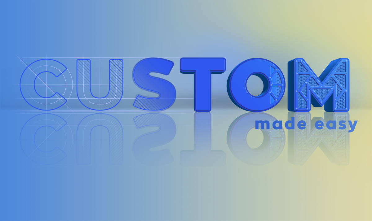 Website intro graphic for product customization software