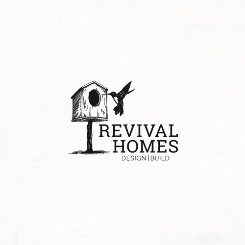 Graphic and artistic logo with a hummingbird