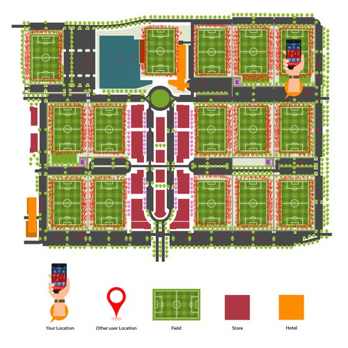 site map illustration for getaway vilage