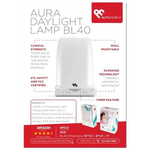 Flyer for Aura Daylight lamp