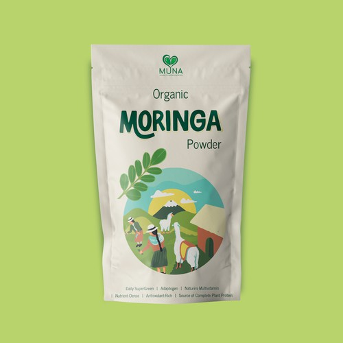 Packaging Design for Moringa Powder Super Green | Superfood | Organic
