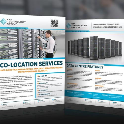 Design a flyer for CM Technology Data Centre/Co-location services.