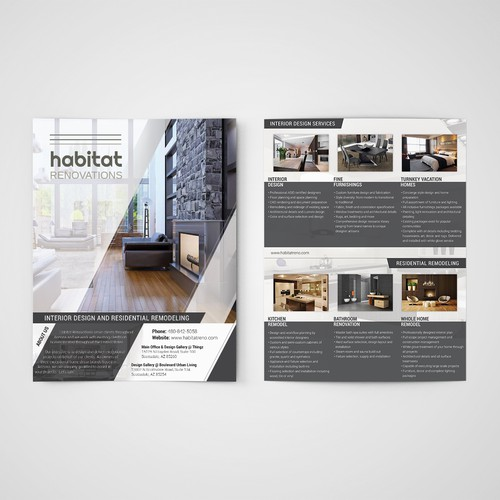 A stylish 2-sided handout for interior design/remodeling business