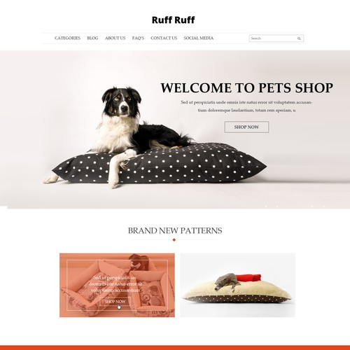 Dog product website design