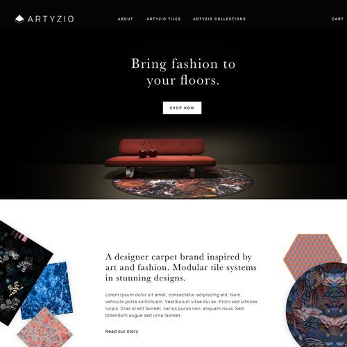 Homepage concept for designer flooring brand