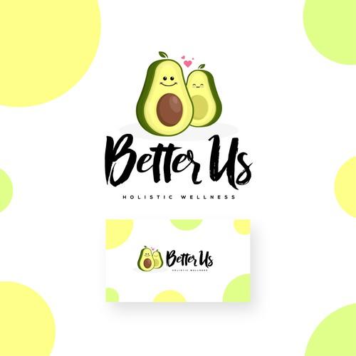 Avocado Smile Cartoon logo concept