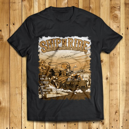 Go Wild with this Wild West Motorcycle Illustration!