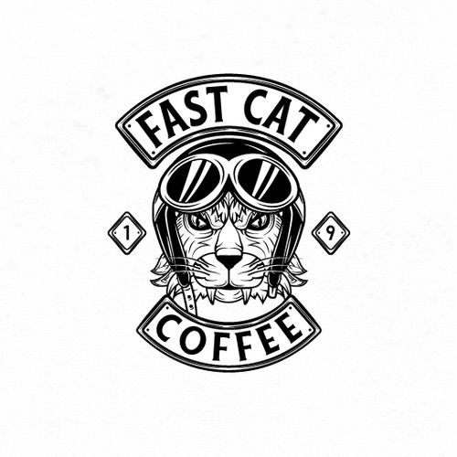 Bold motorcycle inspired logo for coffee shop.