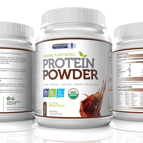 Protein Powder Chocolate flavor Label