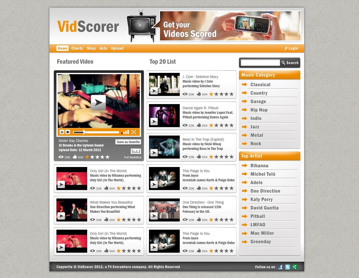 New website design wanted for VidScorer